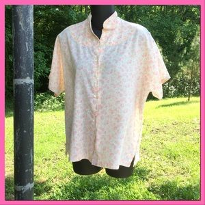 Vtg. Cotton Floral Blouse, sz 18/20W